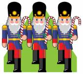 Toy soldiers marching in a row holding candy — Stock Vector