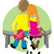 Boy and girl sitting on bench — Stock Vector #65363887