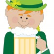 A leprechaun holding a big stein of beer — Stock Vector #65363903