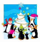 Family of penguins and ice tree — Vettoriale Stock