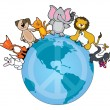Globe with different animals — Stock Vector #66289219