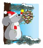 A squirrel decorating a pine cone — Stock Vector
