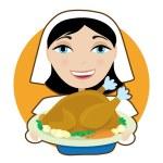 Woman holding  large turkey — Stock Vector #67075485