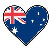 Australian flag in the shape of heart — Stock Vector