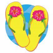 Yellow flip flops — Stock Vector