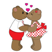 Сouple of teddy bears — Vector de stock