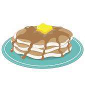 Stack of pancakes with syrup — Stock Vector