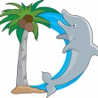 Dolphin jumping out of water — Stock Vector #70394437