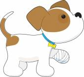 Filhote de cachorro bonito com uma pata ferida — Vetor de Stock