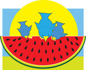 Watermelon Blue Birds — Stock Vector