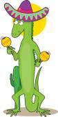 Iguana holding maracas — Stock Vector