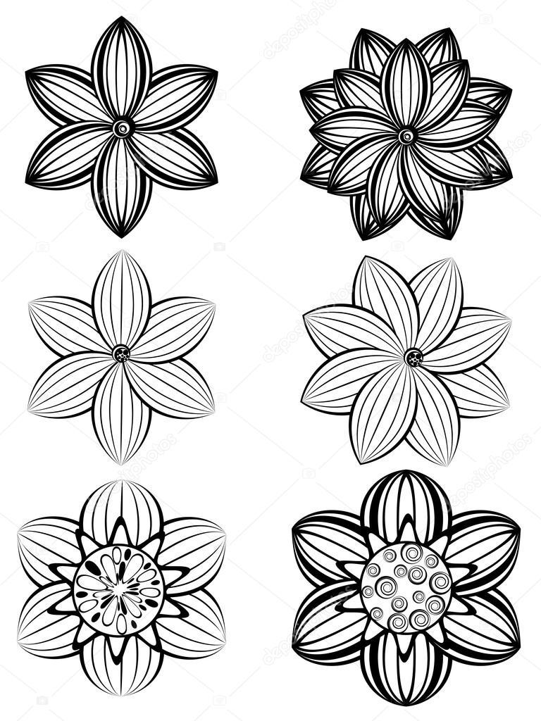 Цветы простые черно белые