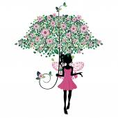 Fairy with Floral Umbrella — Stock Vector