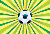 Soccer Ball on Green Background — Stock Vector
