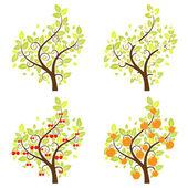 Stylized Fruit Trees — Wektor stockowy