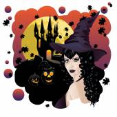 Witch and Bats — Stock Vector