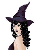 Witch with Black Hair — Stock Vector