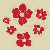 Doodle flores — Vetor de Stock