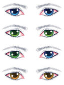 Colorful Male Eyes — Stock Vector