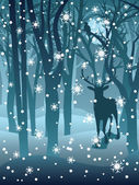 Stag in Winter Forest — Stock Vector