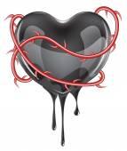 Bleeding Black Heart — Stock Vector