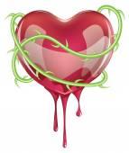 Bleeding Red Heart — Stock Vector