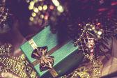 Xmas Tree and Green Gift Box — Stock Photo