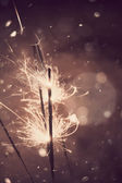 Sparkler and Snow — Stock Photo