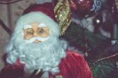 Retro Santa Toy with Accordion — Stock Photo