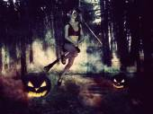 Witch in the Night Forest — Stock Photo