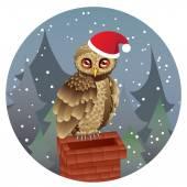 Cute Christmas Owl — Stock Vector