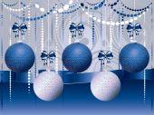 Blue and White Xmas Balls — Stock Vector