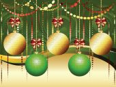 Gold and Green Xmas Balls — Stock Vector
