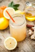 Healthy drink made of  lemon, cinammon, ginger and honey — Stock Photo