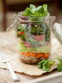 "Lunch ""to go"" in glass jar — Stock Photo"