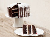 Chocolate cake with coconut icing — Stock Photo