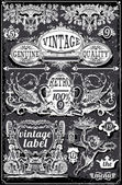 Vintage Blackboard Banners and Labels — ストックベクタ