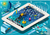Isometric Diving Holidays Infographic on Tablet — Cтоковый вектор