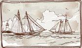 Vintage View of Sailing Ships on the Sea — Stockvektor