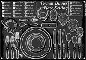 Vintage ručně tažené tabuli místo nastavení formální večeře — Stock vektor