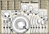 Vintage Hand Drawn Place Setting Formal Dinner — Stock Vector