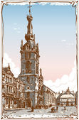 Vintage View of Chimay Church Place in Belgium — Stock Vector
