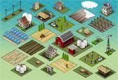 Isometric Farm Set Tiles — Stock Vector