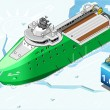 Isometric Icebreaker Ship Breaking the Ice in Front View — Stockvektor  #58936187