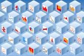 Isometric Stats Element Cube Set — Stock Vector