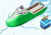 Isometric Icebreaker Ship Breaking the Ice in Front View — Stockvector
