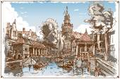 Vintage View of Fish Market Canal in Gouda, Nederland — Stock Vector