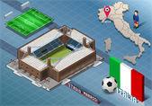 Isometric Stadium, Marassi, Genova, Italy — Stock vektor