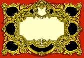 Vintage Gold Baroque Frame on Red Background — Vecteur
