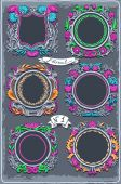Set of Six Vintage Graphic Colored Garlands — Stock Vector